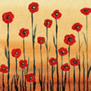 Abstract Red Poppy Field Poster