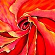 Abstract Rosebud Fire Orange Poster