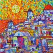 Abstract Santorini Oia Sunset Floral Sky Impressionist Palette Knife Painting  Ana Maria Edulescu Poster