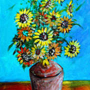 Abstract Sunflowers W/vase Poster
