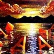 Abstract Sunset Landscape Seascape Floating Aces Suits Poker Art Decor Poster