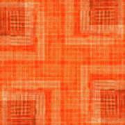 Abstract Window On Orange Wall Poster
