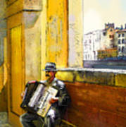 Accordeonist In Florence In Italy Poster