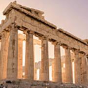 Acropolis Parthenon At Sunset Poster