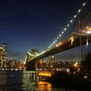Across The Brooklyn Bridge To Manhattan At Night Poster
