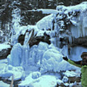 Adam Jewell Hiking In Maligne Canyon Poster