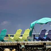 Adirondack Chairs At Coyaba Mahoe Bay Jamaica. Poster