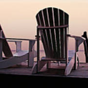 Adirondack Chairs Dockside At Lavender Haze Twilight Poster