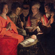 Adoration Of The Shepherds Poster by Georges de la Tour