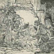 Adoration Of The Shepherds, With Lamp Poster