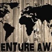 Adventure Awaits Graphic Barn Door Poster