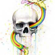 Adventure Time Skull Jake Finn Lady Rainicorn Watercolor Poster by Olga Shvartsur