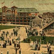Aerial Birds Eye View Of Long Beach Pier And Beachfront California Circa 1895 Poster