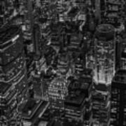 Aerial New York City Skyscrapers Bw Poster