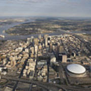 Aerial Of New Orleans Looking East Poster