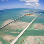 Aerial Of Seven Mile Bridge At Extreme Poster