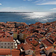 Aerial Panorama Of Piran Slovenia On Adriatic Sea With Marina An Poster