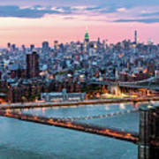 Aerial Panoramic Of Midtown Manhattan At Dusk, New York City, Us Poster