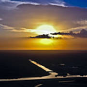 Aerial Sunset Over Canal Poster
