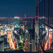 Aerial View Cityscape At Night In Tokyo Japan From A Skyscraper Poster