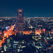 Aerial View Cityscape At Night In Tokyo Japan Poster