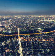 Aerial View Cityscape At Night Poster