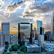 Aerial View Of Charlotte City Skyline At Sunset Poster