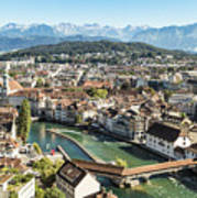 Aerial View Of Lucerne In Switzerland.  Poster