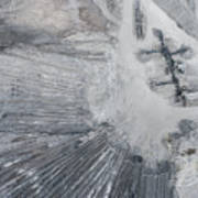 Aerial View Of Open Pit Sand Quarries.  View From Above.  Poster