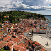 Aerial View Of Piran Slovenia On The Adriatic Sea Coast With Har Poster