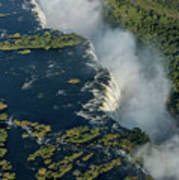 Aerial View Of Victoria Falls With Bridge Poster