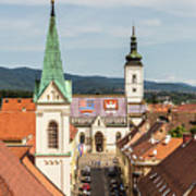 Aerial View Of Zagreb In Croatia Poster