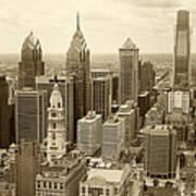 Aerial View Philadelphia Skyline Wth City Hall Poster by Jack Paolini