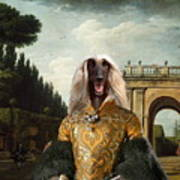 Afghan Hound-the Afternoon Promenade In Rome  Canvas Fine Art Print Poster