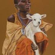 African Girl With Lamb Poster