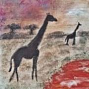 African Landscape Giraffe And Banya Tree At Watering Hole With Mountain And Sunset Grasses Shrubs Sa Poster