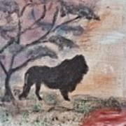 African Landscape Lion And Banya Tree At Watering Hole With Mountain And Sunset Grasses Shrubs Safar Poster