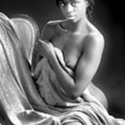 African Nude Kneeling On Chair 1191.01 Poster