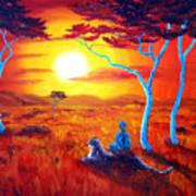 African Sunset Meditation Poster