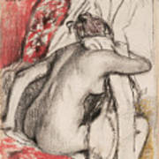 After The Bath Seated Woman Drying Herself Poster