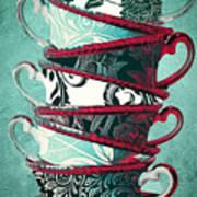 Afternoon Tea Aqua Poster