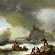 Ailing Ships On Rocks Poster
