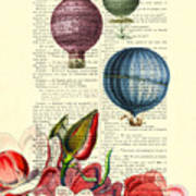 Hot Air Balloons Above Flower Field Poster