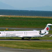 Air Canada Express Crj Taxis Into The Terminal Poster
