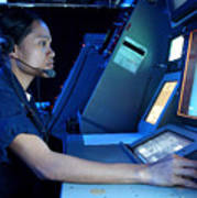 Air Traffic Controller Monitors Marine Poster