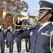 Airman Plays Taps During The Veterans Poster by Stocktrek Images