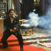 Al Pacino As Tony Montana With Machine Gun Blasting His  Fellow Bad Guys Scarface 1983 Poster