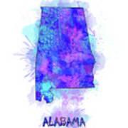 Alabama Map Watercolor 2 Poster