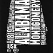 Alabama Word Cloud Black and White Map Poster