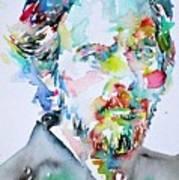 Alan Watts Watercolor Portrait Poster